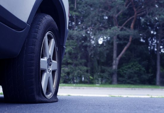 Car Tyre With Puncture