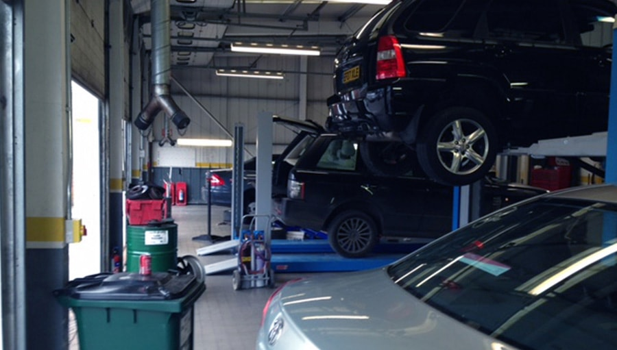 cars being serviced